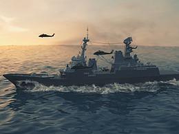 大型流体场景-水的模拟航行-飞船出海maya bifrost