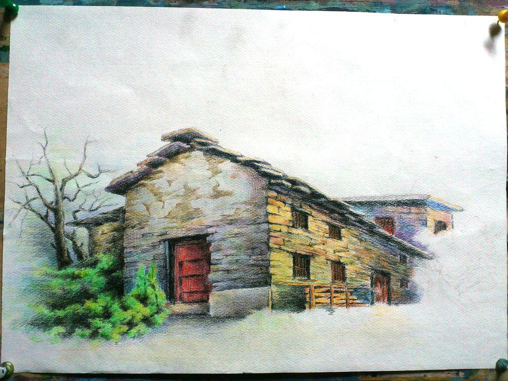 彩铅——【wallpainter手绘工场】彩铅乡村风景.