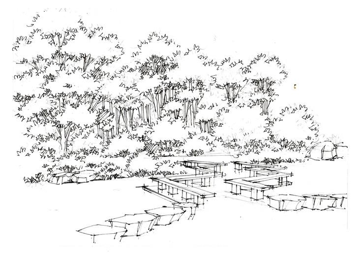 上海人民公园景观手绘临摹图杭州景观手绘培训组