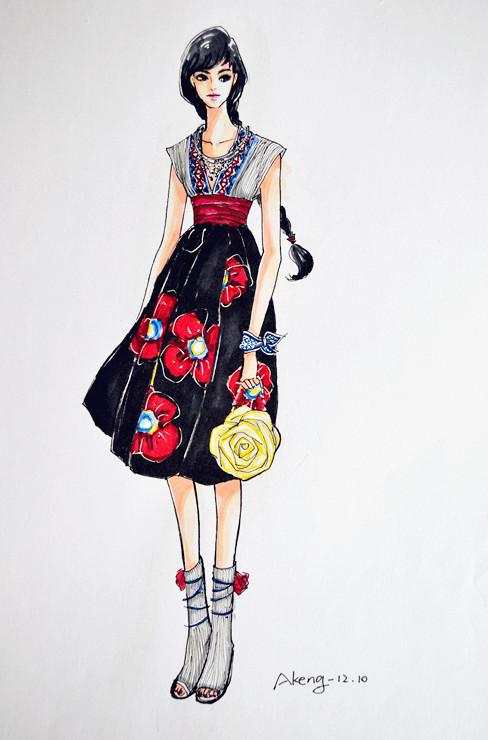 服装效果图手绘