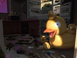 小男孩与大黄鸭