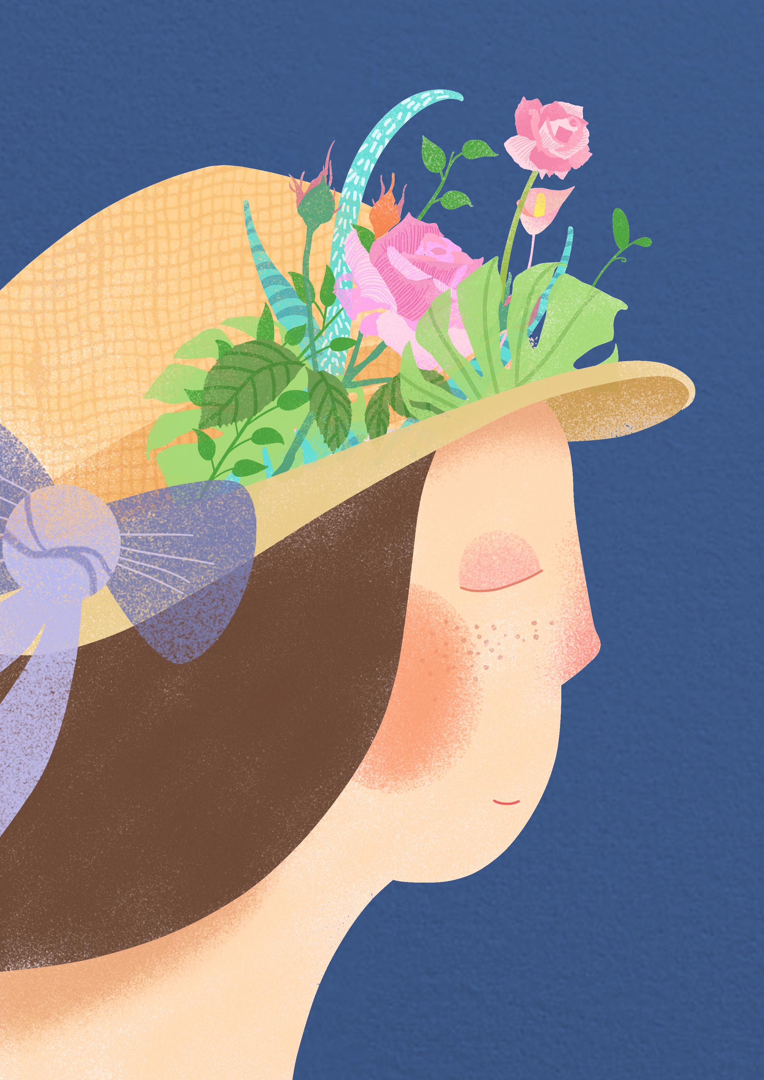 花与少女插画 原创数字手绘