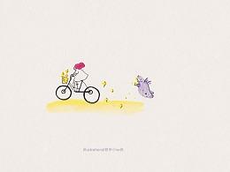 水彩日涂-tapir momo插画系列手稿