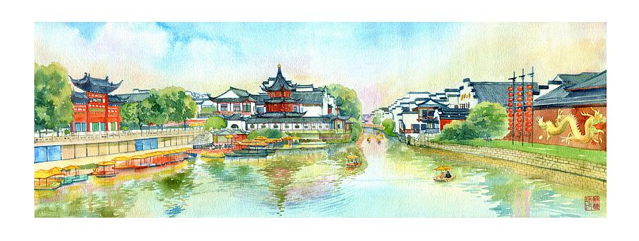 手绘城市系列——《南京》