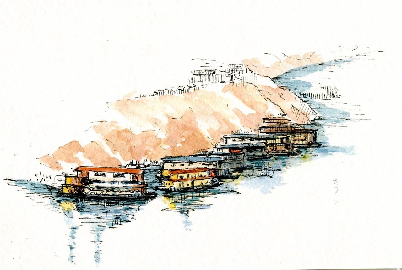 手绘明信片系列-重庆老街