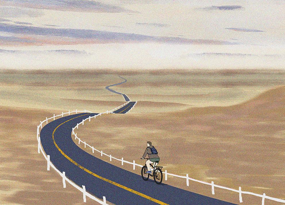 骑行在路上的时候心情是放松的图片
