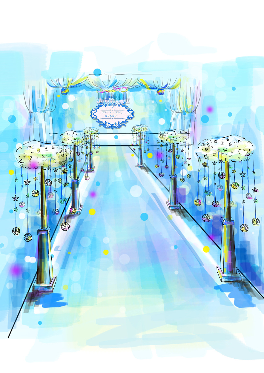 婚庆手绘临摹 婚礼策划 布场 效果图
