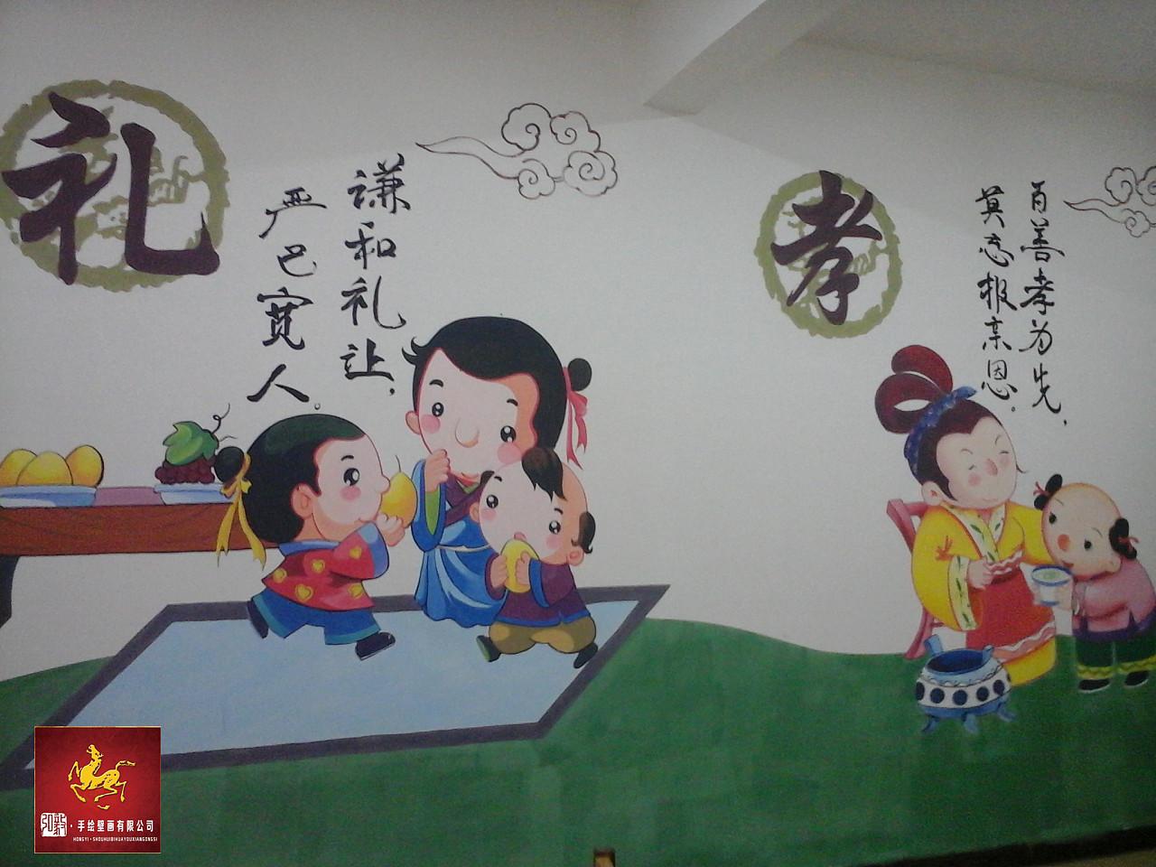 手绘壁画作品之 经典国学