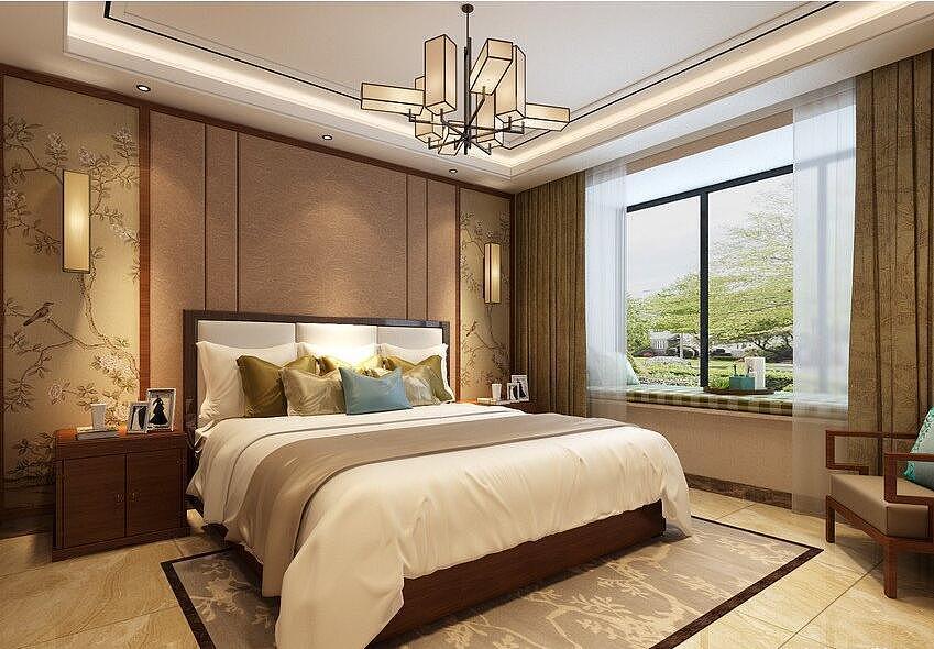 广电天韵装修效果图132平新中式风格三室两厅设计案例图片