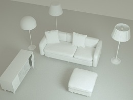 c4d建模练习-北欧风格家具