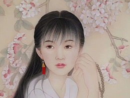 画家杨立松绢本人物作品