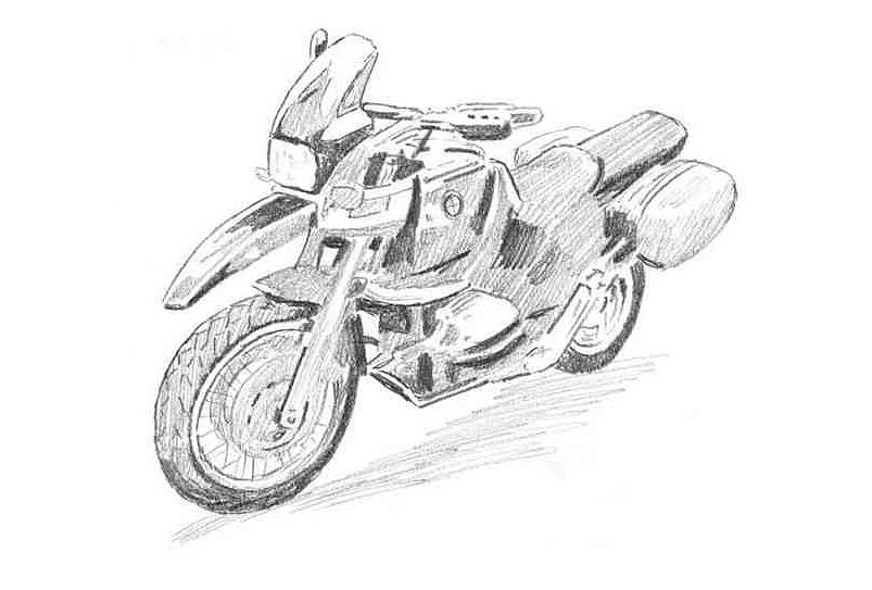 摩托车素描步骤图解图片