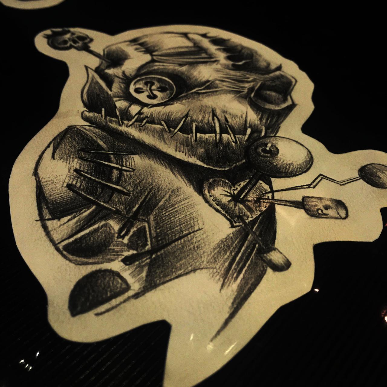 blackbee 黑蜂纹身设计 - 原创暗黑蒸汽乌鸦纹身手稿图片
