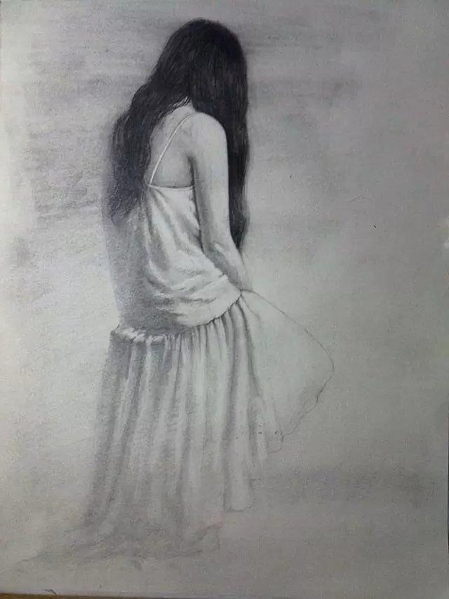 手绘彩铅画 背影