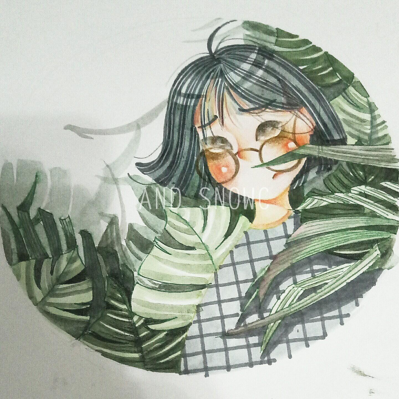 马克笔 水彩 彩铅手绘人物插画