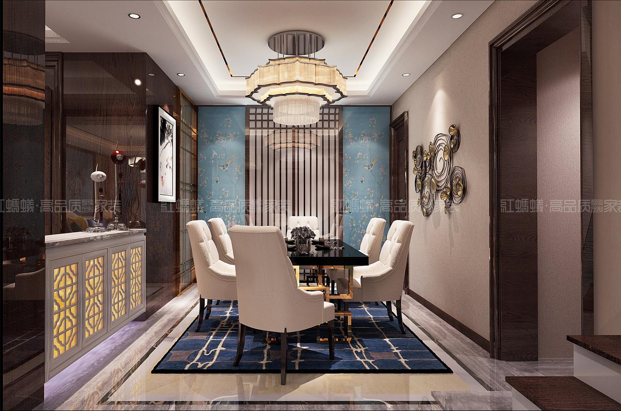 客厅:开阔大气的客厅空间,深色的木饰面护墙板,大花白大理石,米色的图片