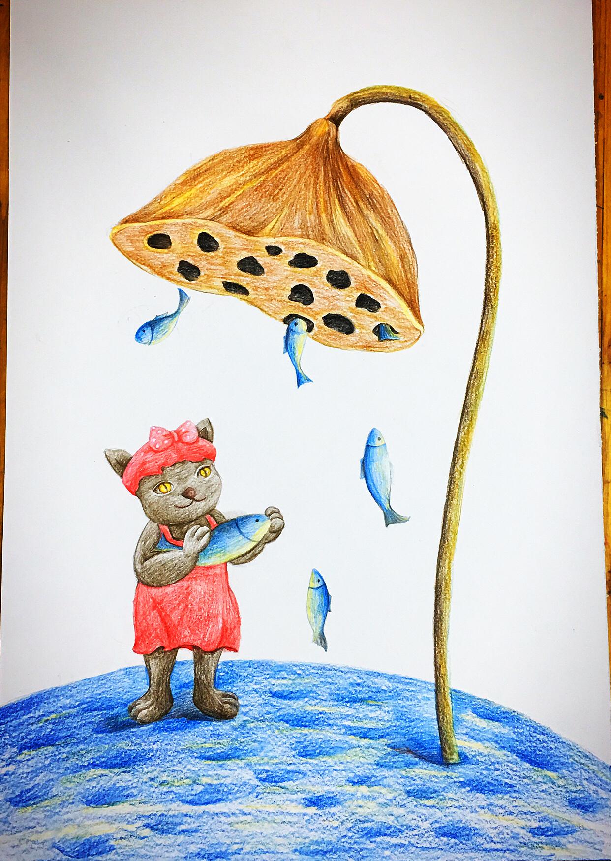 彩铅手绘鱼作品