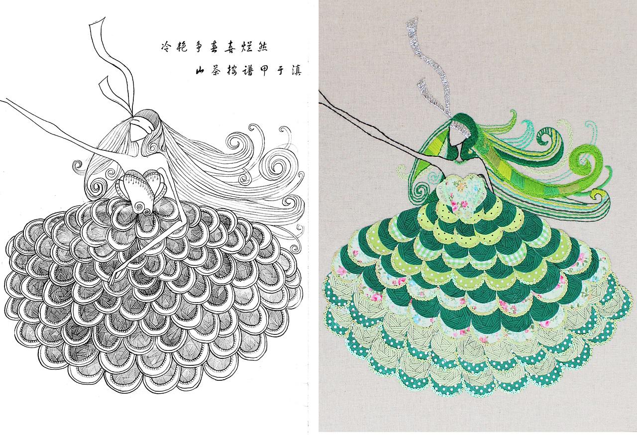 刺绣墙饰设计-手绘手工
