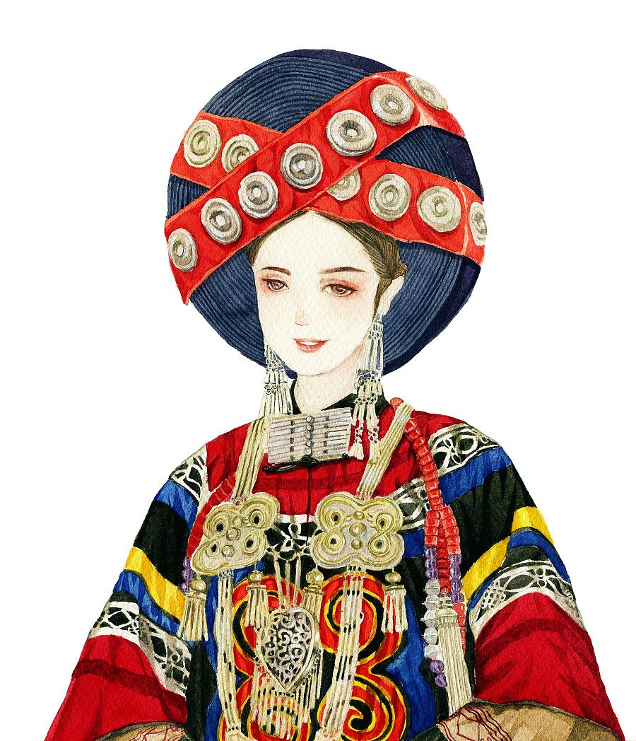 彝族姑娘手绘|商业插画|插画|瓶子酱