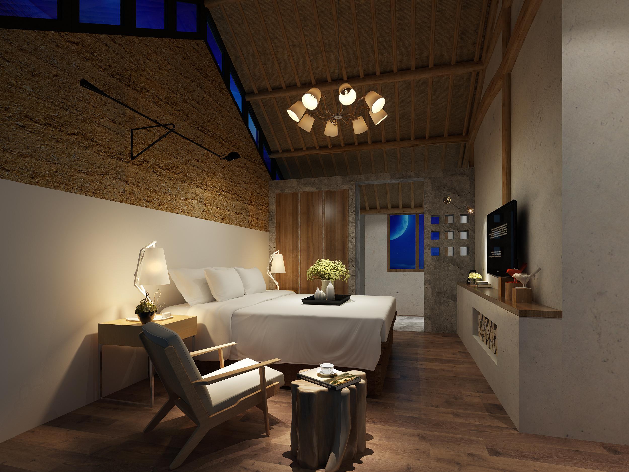 视觉空间表现 效果 室内设计 星民宿-原创作品宋代休憩建筑设计图片