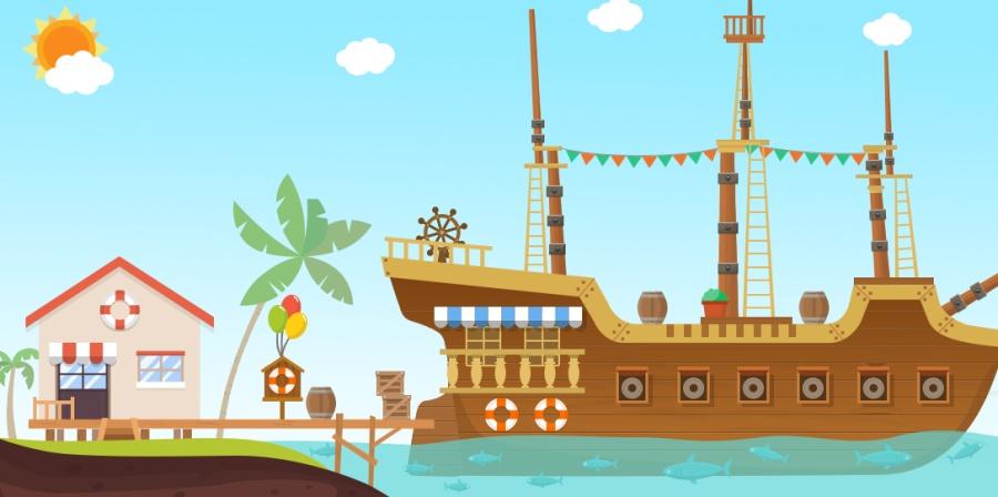 屋顶木船小阳光(UI壁纸图标)|桌面夏日/插画|bim绘制坡度背景平图片