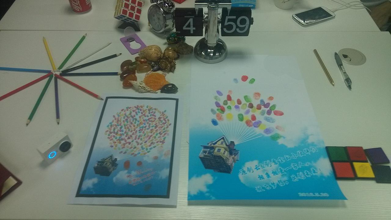 创意宝:放飞梦想,共创未来!手印签到图片