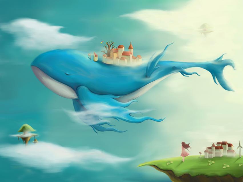 唯美手绘插画鲸鱼