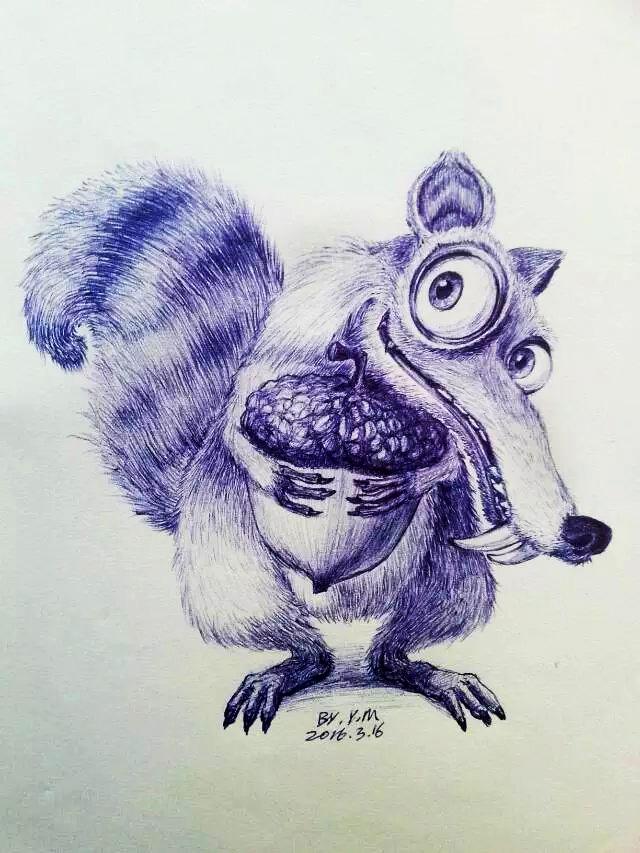 圆珠笔画-《冰川世纪》里的松鼠|绘画习作|插画|河边