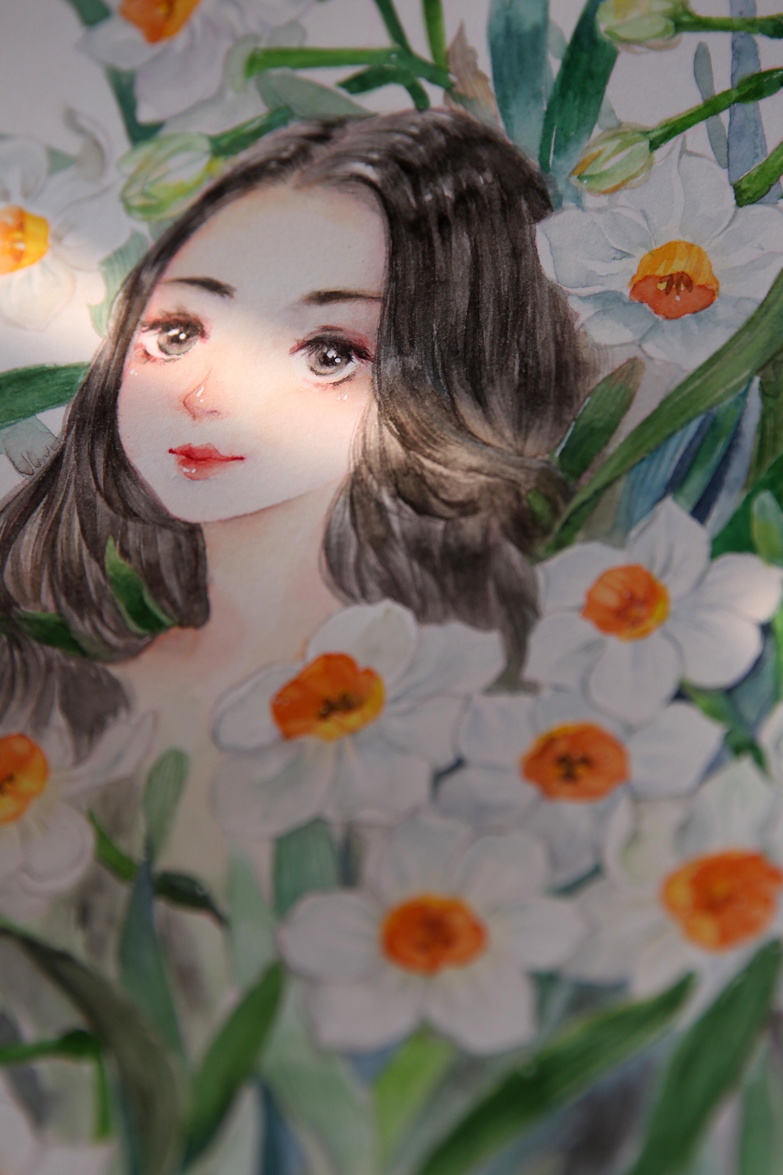 花和女孩手绘壁纸