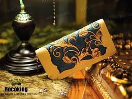 中国风蓝色皮雕钱包
