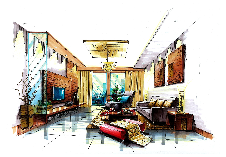 客厅设计手绘马克笔上色