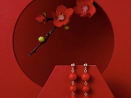 首饰海报图 首饰广告图 中国红  耳钉  年货节