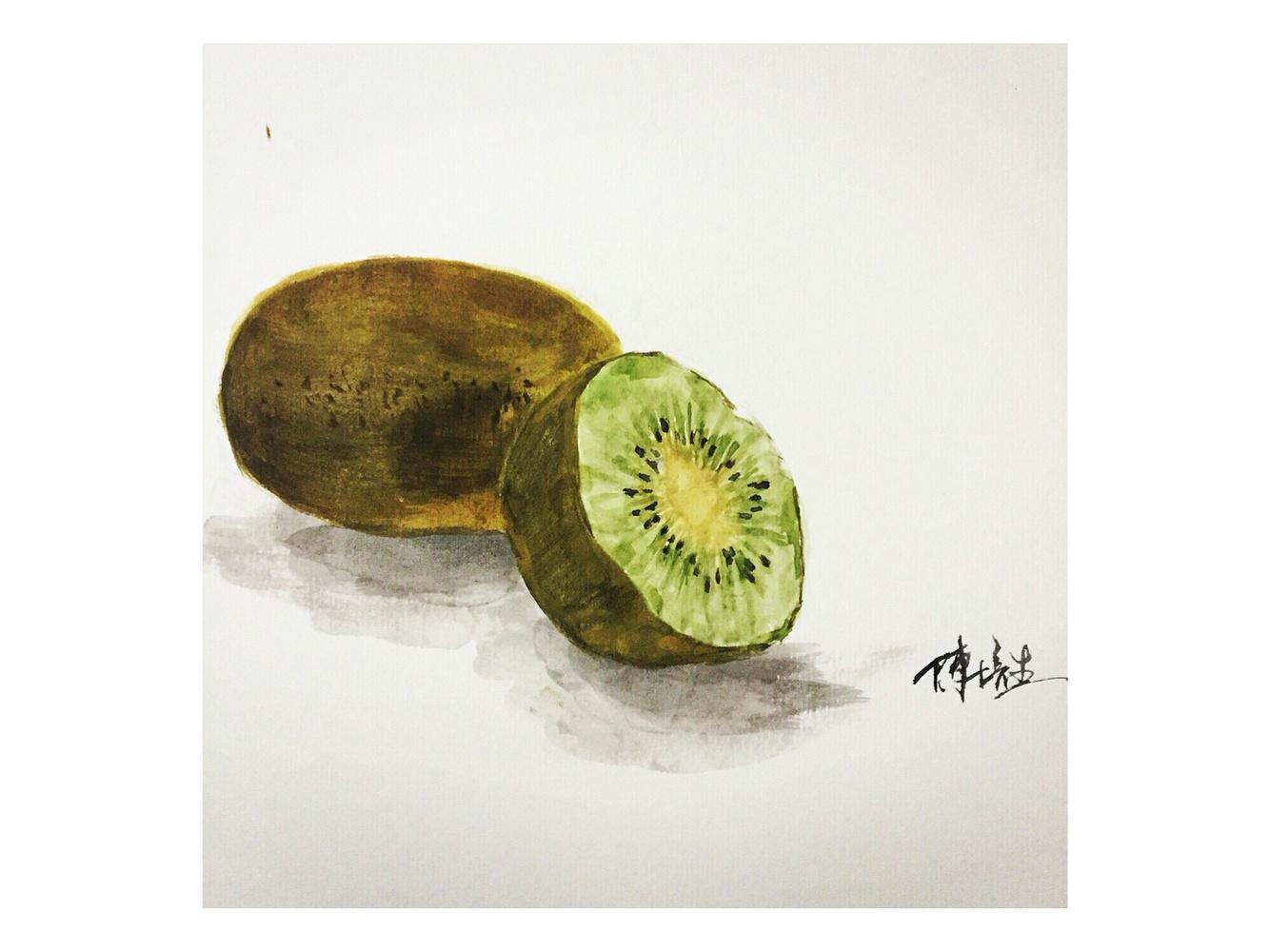 原创作品:手绘美食之猕猴桃