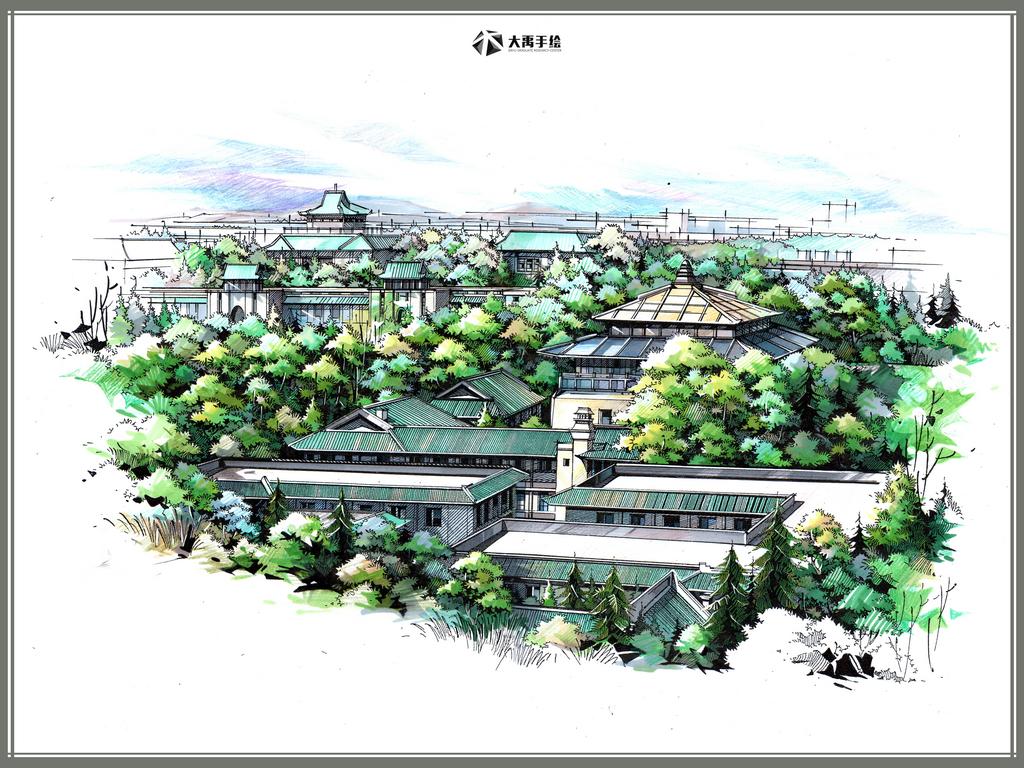 大禹手绘官宣:近100多张建筑手绘线稿,临摹必备 -推荐手绘培...