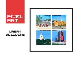像素画艺术-城市建筑物