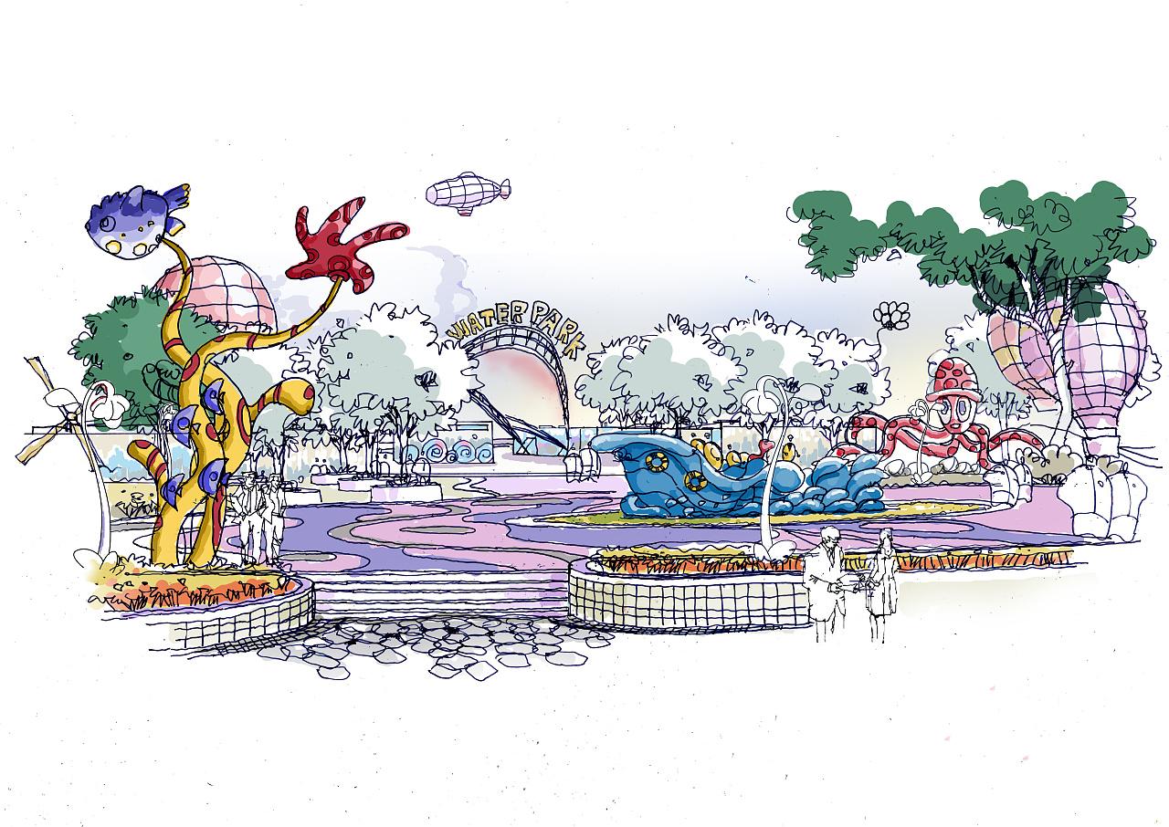 水上乐园手绘