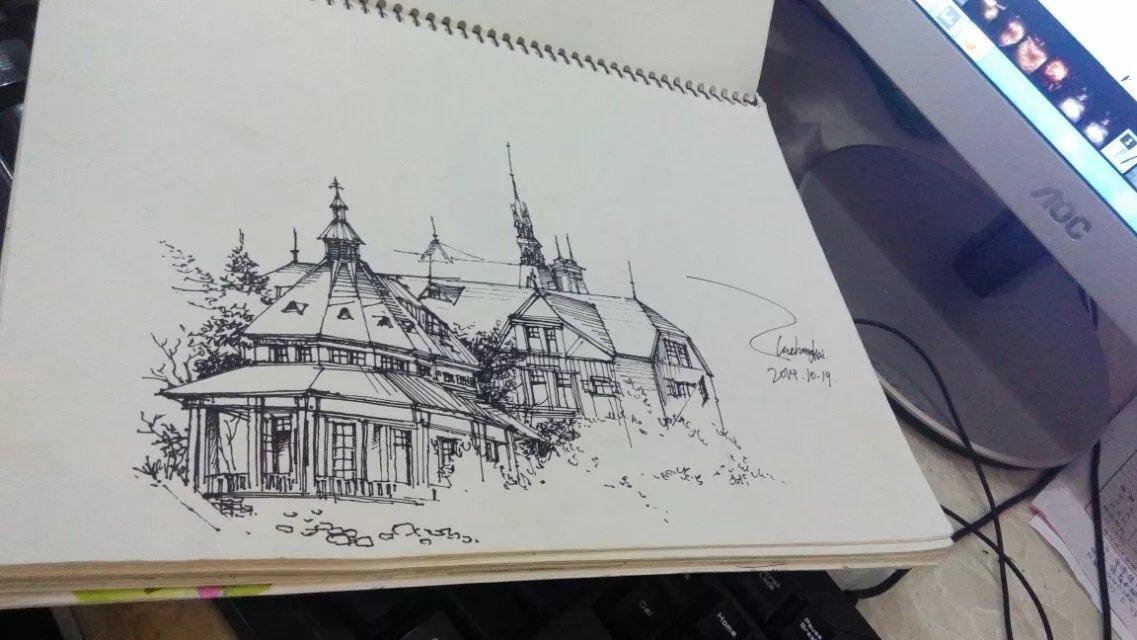 建筑手绘线稿 纯艺术 钢笔画 聆枫soul - 原创作品