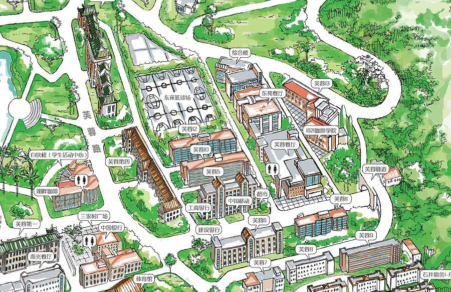原创作品:厦门大学手绘地图