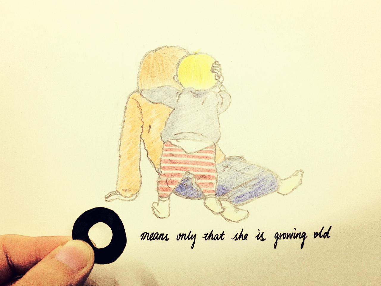手绘母亲泪水彩图