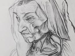 临摹画家丢勒母亲的画像