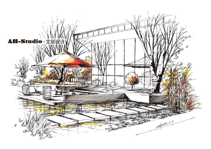 艾绘设计景观设计手绘表现冬日暖阳气氛表免费门头设计素材图片