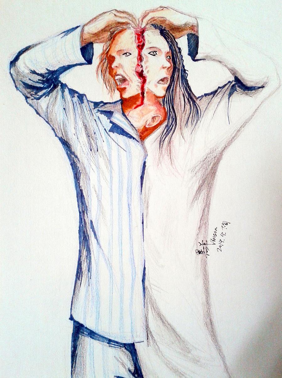 彩铅手绘人物头