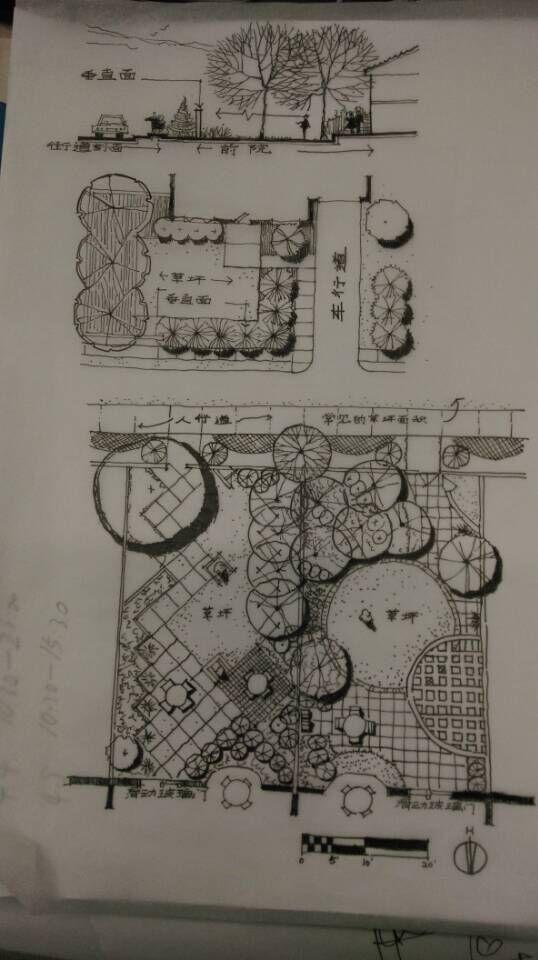 别墅庭院手绘平面图2