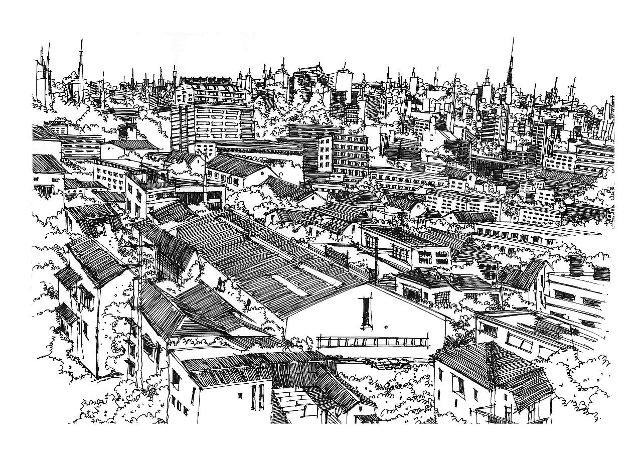 建筑黑白手绘