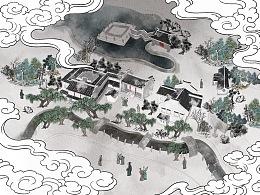 西塘古镇手绘地图