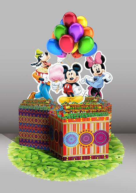 迪士尼及蓝精灵食品堆头及年会布置