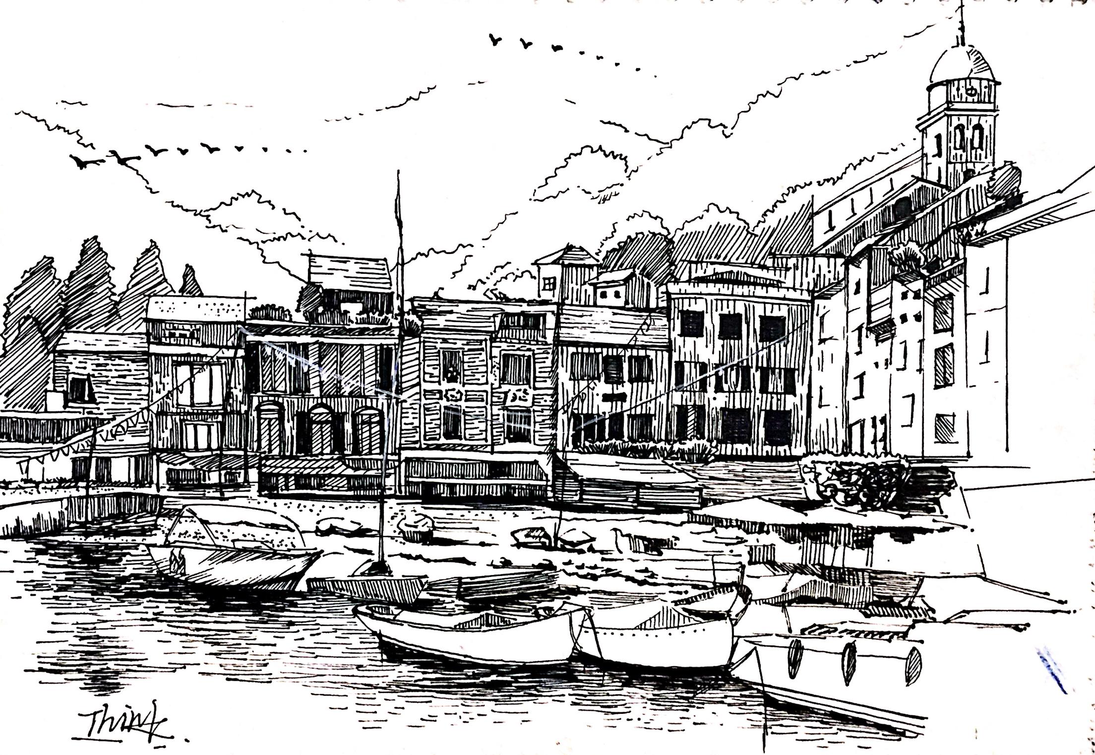 钢笔画建筑,黑白画.扫描版.