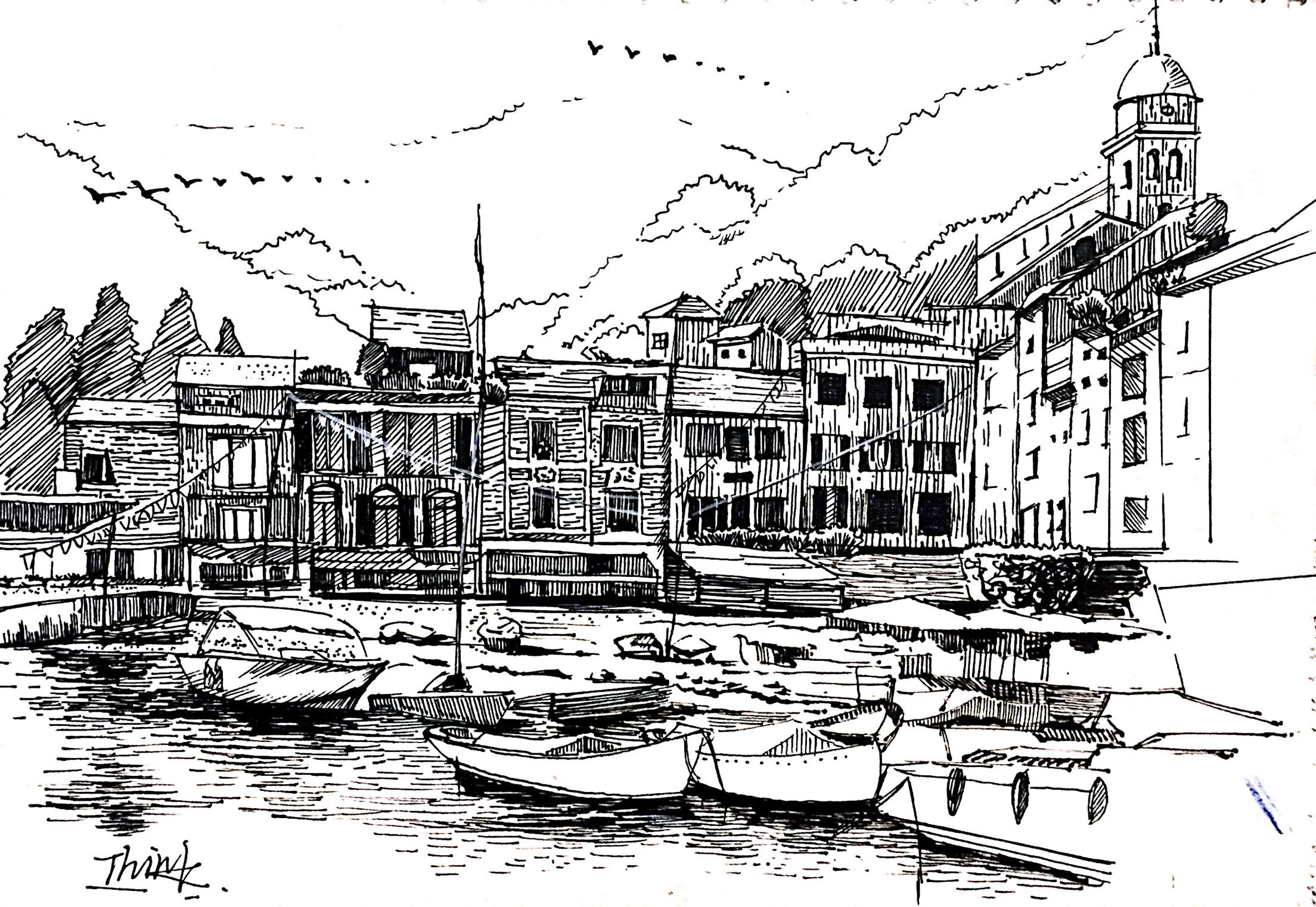 钢笔画建筑,黑白画.扫描版.图片