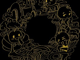 仿迪士尼中秋月饼图文,画的一波橙子周边花纹