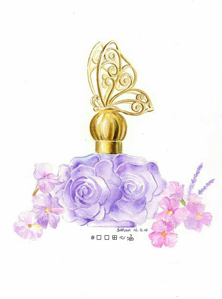 水彩手绘香水